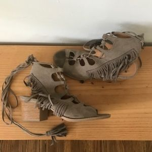 Tan fringe Lace up Heeled Sandal